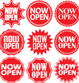 Now open red label Now open red sign Now open red vector image vector image