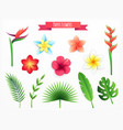 paper flowers icon set vector image vector image