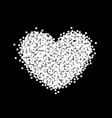 pixel heart sign black and white background vector image vector image
