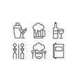 restaurant line icons set cafe bar food vector image vector image