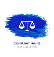 scales balance sign icon - blue watercolor vector image