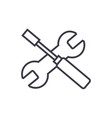 screwdriver and wrench line icon sign vector image