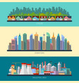 Set of flat design urban landscape vector image vector image