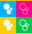 settings sign four styles of icon on vector image vector image