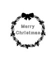 silhouette christmas wreath happy merry christmas vector image vector image