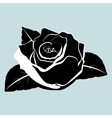 silhouette of rose flower with leaves vector image
