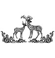 silhouette of stylized deers vector image vector image