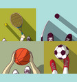 sports set flat football basketball tennis hockey vector image