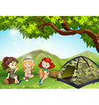 Three girls camping out in the field vector image vector image