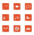 training field icons set grunge style vector image