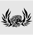 tribal tattoo viking lion head and logo vector image