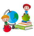 two boys sitting on books vector image