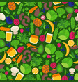 vegan seamless pattern with isolated fruits vector image