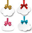 White paper gift cards with color satin bows vector image