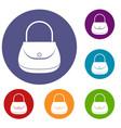 woman bag icons set
