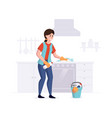 woman from a cleaning service professional cleans vector image vector image