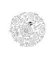 doodle drum coloring page vector image