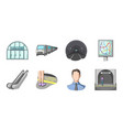 metro subway icons in set collection for design vector image