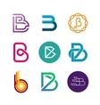 Letter B logo set Color icon templates design vector image