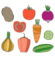 set of hand drawn vegetables vector image