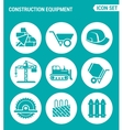 set of round icons white Construction equipment vector image