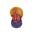 Sikh Turban Beard Watercolor vector image