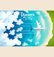 passenger plane flying above clouds and tropical vector image