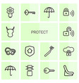 14 protect icons vector image vector image