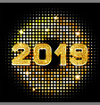 2019 golden new year sign with golden glitter vector image