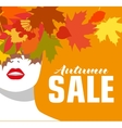 Autumn sale Banner Fashion girl Colored leaves vector image vector image