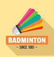 badminton logo flat style vector image vector image
