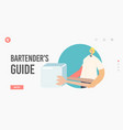 bartenders guide landing page template barista vector image