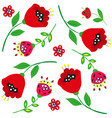 bright cartoon poppies and flowers on white vector image vector image