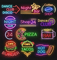 bright roadside neon signs fast food and beer pub vector image