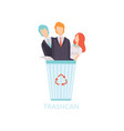 business people in the trash can workers vector image