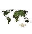Camouflage military world map with stars vector image