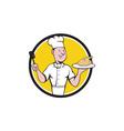 Chef Cook Roast Chicken Spatula Circle Cartoon vector image