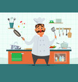 chef cooking on the kitchen character in vector image vector image
