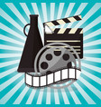 cinema film reel strip with speaker design vector image