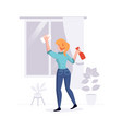 cleaning professional staff cleans house vector image vector image