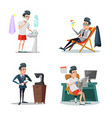 coffee break at work businessman relaxing vector image vector image