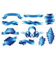 collection curved ribbons set blue web banner vector image vector image
