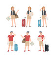 collection male and female travelers with map vector image