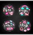 colored set of teenage girl icon concept cute vector image vector image