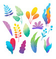 doodle colorful leaves and flowers flat set vector image vector image