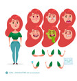 emoji face icons student woman vector image vector image