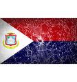 Flags Saint Martin with broken glass texture vector image