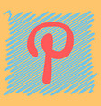 flat icon of pinterest on background with shadow vector image vector image