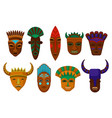 flat set of ethnic wooden masks ritual vector image vector image