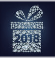 gift present with 2018 made up a lot of diamonds vector image vector image